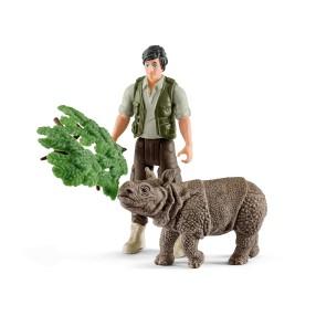 Schleich - Nosorożec indyjski z opiekunem 42428