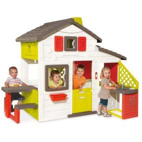 Smoby - Domek Friends House z dzwonkiem, ogródkiem i kuchnią 810201