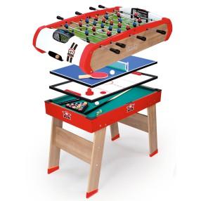Smoby - Stół do gry 4w1 Piłkarzyki, biladr, Hockey, Ping-Pong 640001