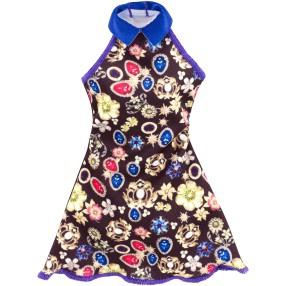 Barbie - Czarna sukienka w ozdoby i kwiaty DPX71