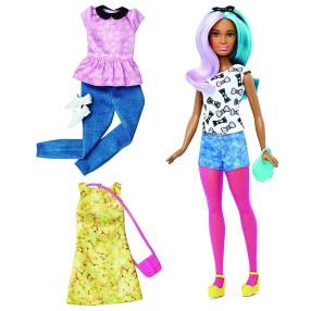 Barbie Fashionistas - Lalka z ubrankami Blue Violet, Petite DTF05