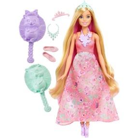 Barbie - Księżniczki kolorowe fryzury Różowa DWH42