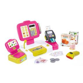Smoby - Kasa sklepowa elektroniczna z panelem dotykowym i czytnikiem Różowa 350108
