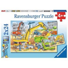 Ravensburger - Puzzle Praca na budowie 2 x 24 elem. 078004
