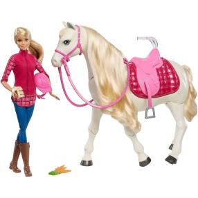 Barbie Interaktywny koń + lalka FRV36