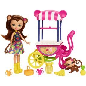 EnchanTimals - Lalka Merit Monkey z wózkiem z owocami FCG93