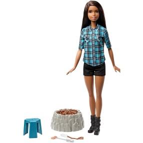 Barbie - Lalka Barbie Brunetka na biwaku Światło Dźwięk FDB45