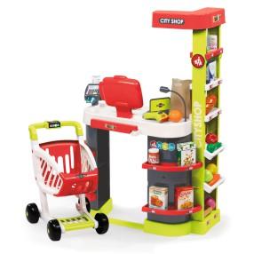 Smoby - Supermarket City Shop z kasą, wózkiem i akcesoriami Czerwony 350211