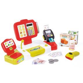 Smoby - Kasa sklepowa elektroniczna z panelem dotykowym i czytnikiem Czerwona 350107