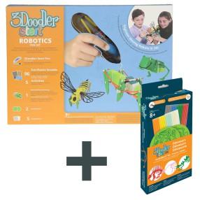 3Doodler - Zestaw z długopisem Roboty 02083 + Zestaw szablonów Dinozaury DBKDN