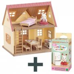 Sylvanian Families - Przytulny domek wiejski - zestaw startowy 5242 + Zestaw z lodówką 5021