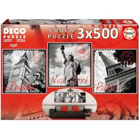 Educa - Puzzle Wielkie miasta 3x500 el. 17096