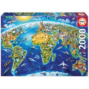 Educa - Puzzle Charakterystyczne miejsca Ziemi 2000 el. 17129