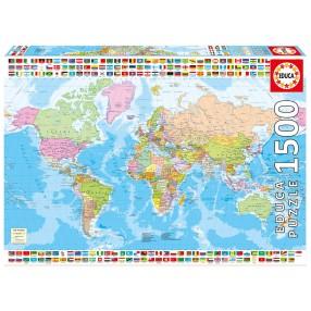 Educa - Puzzle Mapa polityczna świata 1500 el. 17117