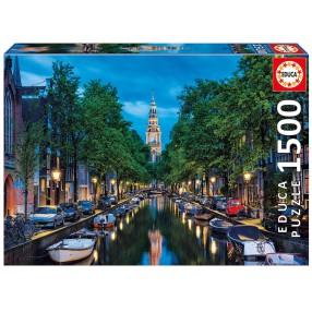 Educa - Puzzle Kanał w Amsterdamie przy zmierzchu 1500 el. 16767
