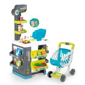 Smoby - Supermarket market z kasą, wózkiem i akcesoriami 350212