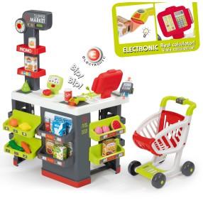 Smoby - Supermarket Duży z kasą, wagą, wózkiem i 42 akcesoria 350213