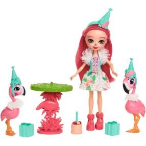 EnchanTimals - Zestaw Flamingowe Figle + Lalka Fanci Flamingo, Kiba i Swash, Akcesoria FCG79