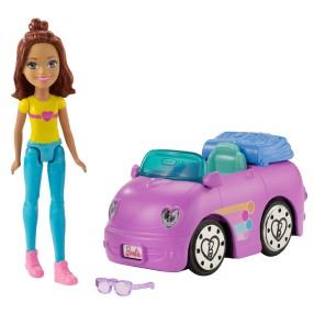 Barbie On The Go - Lalka + Samochód Fioletowy FHV79