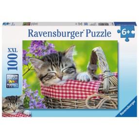 Ravensburger - Puzzle XXL Śpiące Kociaki 100 elem. 105397