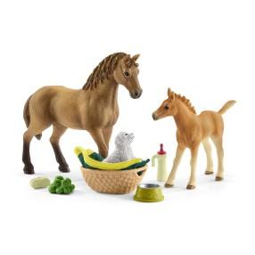 Schleich - Zestaw Pielęgnacyjny klacz Quarter Horse ze źrebakiem i szczeniakiem 42432