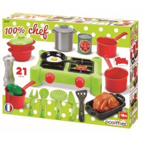 Ecoiffier - Obiadowy zestaw akcesoriów kuchennych z kuchenką 2649