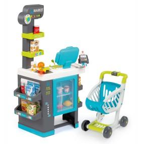 Smoby - Supermarket market z kasą, lodówką, wózkiem i akcesoriami 350218