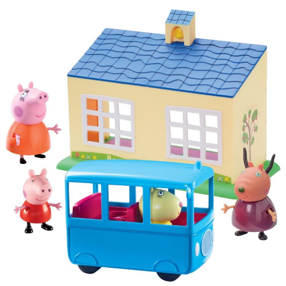 TM Toys Świnka Peppa - Zestaw Szkoła i Autobus + 3 figurki 06593