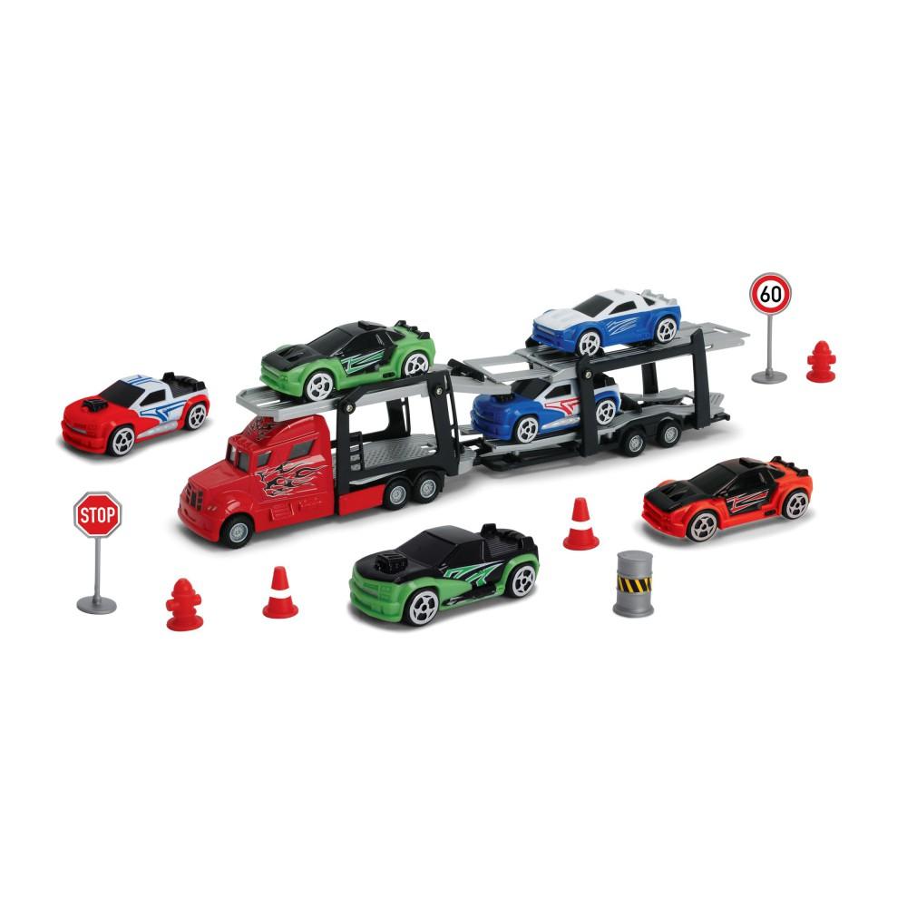 Dickie City - Zestaw Laweta z 6 samochodami + Akcesoria 3745001