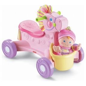 Fisher-Price - Jeździk Kucyk na kółkach z dźwiękiem + Pierwsza lalka dziecka N9140