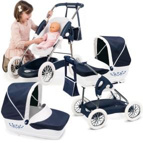 Smoby Inglesina - Wózek głęboki Spacerówka i gondola dla lalek 3w1 + torba Granatowy 250581