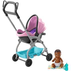 Barbie Skipper - Akcesoria spacerowe, Spacer z wózkiem i laleczką Różowy FXG95