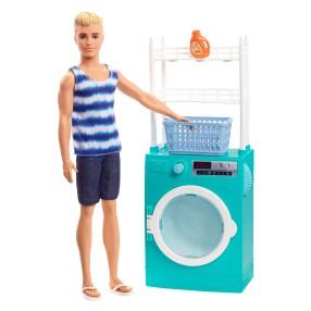 Barbie - Zestaw Ken do zabawy w pranie Pralka + Akcesoria FYK52