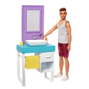 Barbie - Zestaw Ken do zabawy w golenie Umywalka z lustrem + Akcesoria FYK53