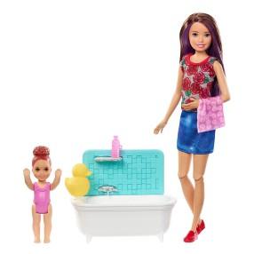 Barbie Skipper - Zestaw z wanną Lalka Opiekunka czerwone kwiaty + dziecko FXH05