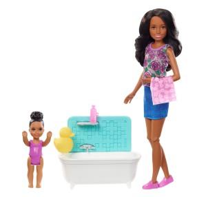Barbie Skipper - Zestaw z wanną Lalka Opiekunka fioletowe kwiaty + dziecko FXH06