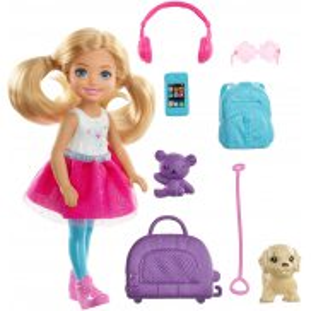 Barbie Dreamhouse Adventures - Lalka Chelsea z plecakiem w podróży + Akcesoria FWV20