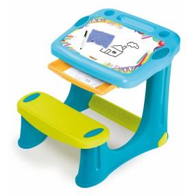Smoby - Stolik z tablicą i wysuwaną szufladą Niebieski 420218