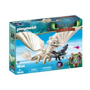 Playmobil - Biała Furia z małym smokiem i dziećmi 70038