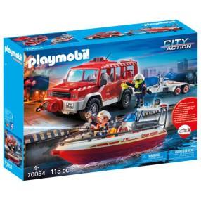 Playmobil - Samochód strażacki z łodzią strażacką 70054