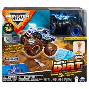 Spin Master Monster Jam - Zestaw startowy Superterenówka Blue Thunder i Piasek kinetyczny 227g 20103742