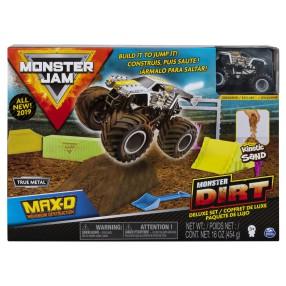 Spin Master Monster Jam - Zestaw deluxe Superterenówka Max-D Maximum Destruction i Piasek kinetyczny 454g 20103746