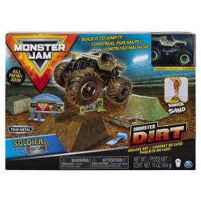 Spin Master Monster Jam - Zestaw deluxe Superterenówka Soldier Fortune i Piasek kinetyczny 454g 20103747