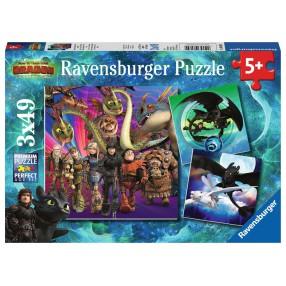 Ravensburger - Jak Wytresować Smoka 3 Puzzle 3x49 elem. 080649