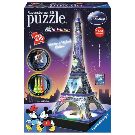 Ravensburger - Puzzle 3D Wieża Eiffla Night Edition Disney 216 elem. 125203