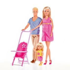 Simba Steffi LOVE - Zestaw Szczęśliwa Rodzina Lalka Steffi w ciąży, Kevin i Evi 5733200