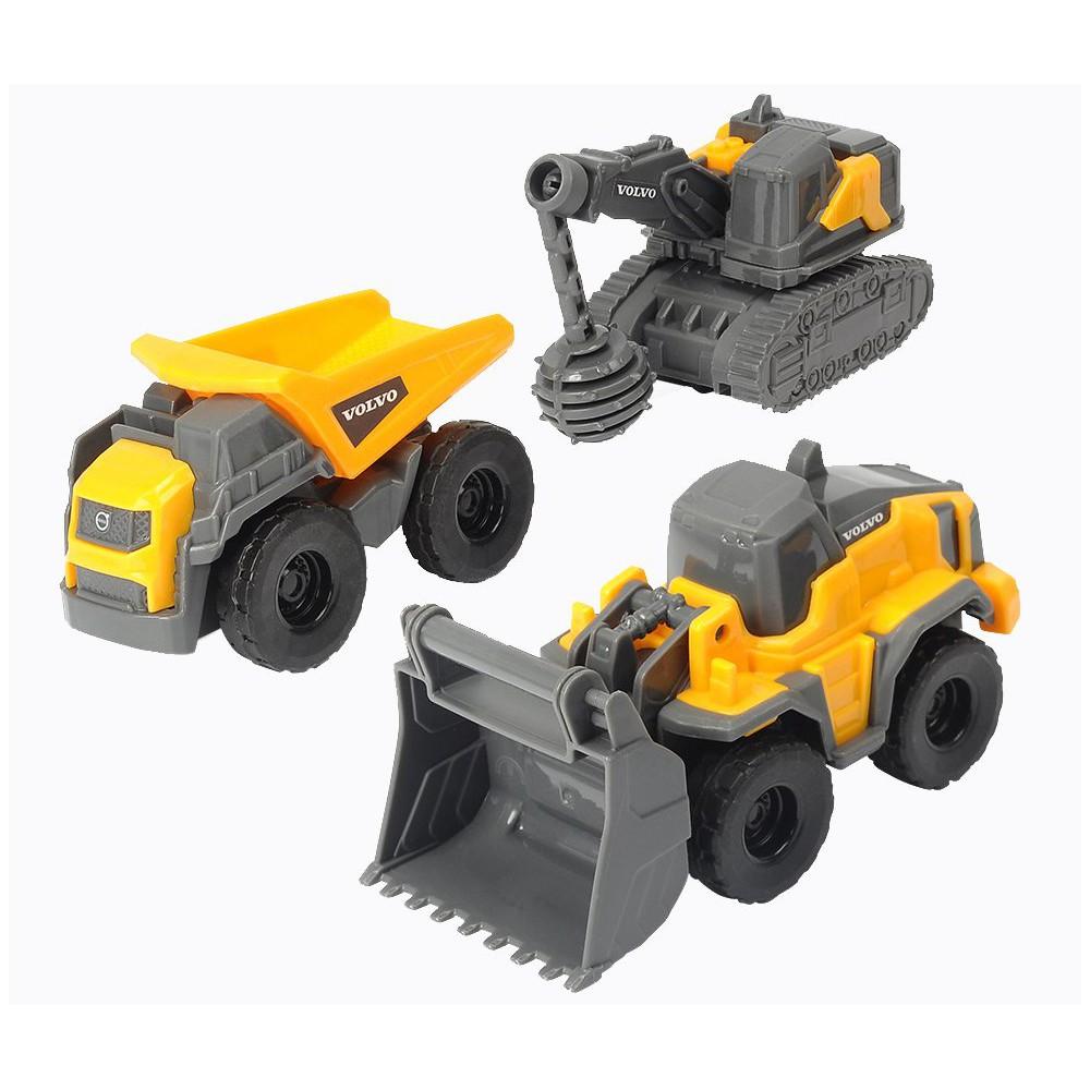 Dickie Construction - Pojazdy budowlane Volvo 3-Pak Spychacz, Wywrotka, Buldożer 3722009 A