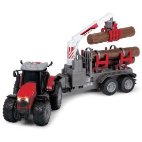 Dickie Farm - Traktor Massey Ferguson 8737 z przyczepą na bale Światło Dźwięk 3737003