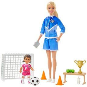 Barbie - Zestaw Lalka Trenerka Piłki nożnej + Akcesoria Blondynka GLM47