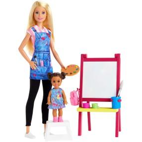 Barbie - Lalka Nauczycielka plastyki z uczennicą + Akcesoria GJM29
